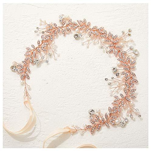 SWEETV Roségold Hochzeit Stirnbänder Kristall Perle Haarband Bohemien Haarreifen Kopfschmuck