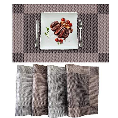 Generies Manteles Individuales de PVC 4 Piezas Salvamanteles Individuales para Cocina Mesa de Comedor Doméstica Antideslizantes Lavables y Resistentes al Calor. (2 Gris Plata +2 Marrón)