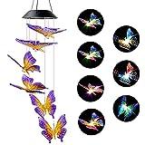 Campanello a vento solare a farfalla per esterni, luce che cambia colore automatica, lampadario mobile solare impermeabile, decorazione da giardino all'aperto (farfalla gialla viola)
