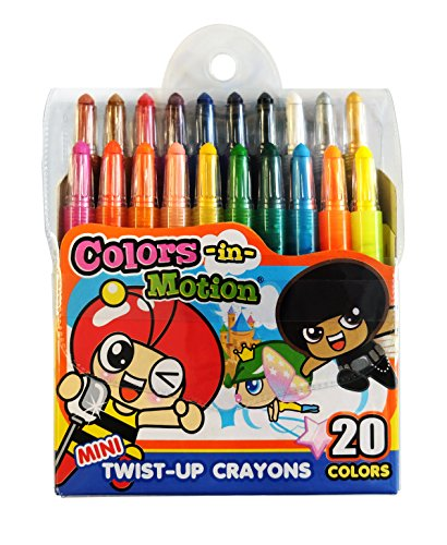 Colors-in-Motion 20 Mini Twist-up Crayons, Colored Pencils, Kids Crayon, Adult Coloring, Professional Drawing (4.5 in Length)