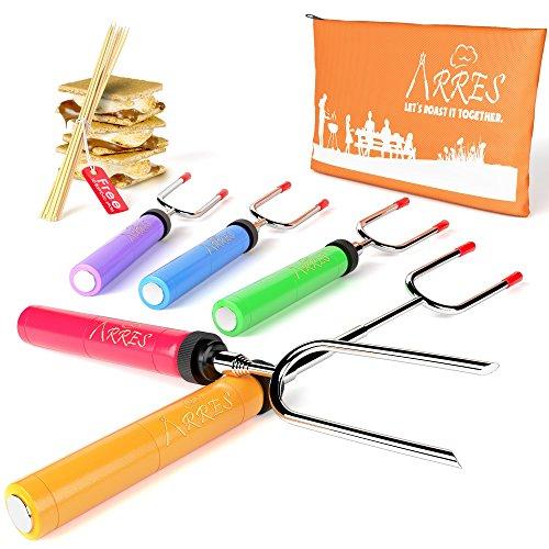 Marshmallow Roasting Sticks kit-Telescoping Stainless Steel Cookware Set Forks for Smores & Best...