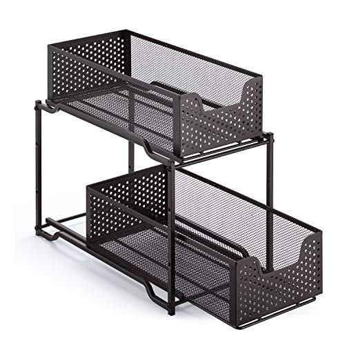 Simple Trending Stackable 2-Tier Under Sink Cabinet Organizer with Sliding Storage Drawer, Bronze