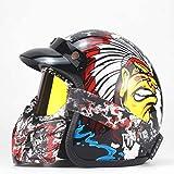 ZHXH Casco de moto Harley, Casco de moto de cara abierta Evergreen para hombres y mujeres adultos con gafas y máscara/aprobación de punto,