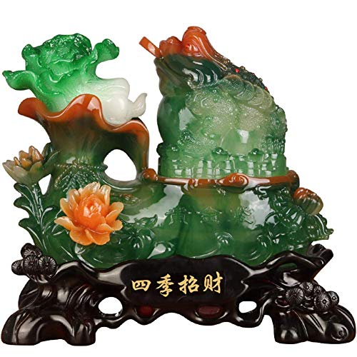 Feng Shui - Estatua de la Suerte con Dinero, Fortuna, Riqueza, Rana China, Sapo, Moneda, Escultura, Figuras, decoración de la Oficina en el hogar, Adornos de Mesa, Regalos de Buena Suerte, v