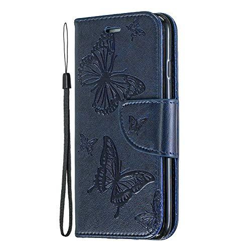 Miagon per Xiaomi Poco X3 NFC Flip Cover,retrò Farfalla Disegno Pu Pelle Libro Chiusura Magnetica Funzione Stand Portafoglio Custodia con Slot per Schede