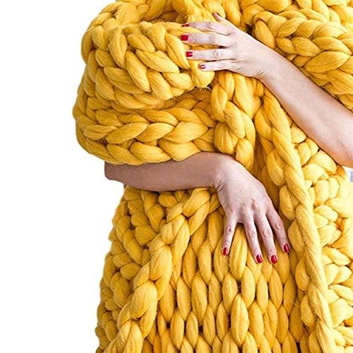 Chunky Knit Blanket Superweiche Chunky Knit Throw Blanket für Bett Cosy Throw Blankets Polyester Throw Blanket und Throws für Sofa Large Throw Blanket (Farbe: Gelb, Größe: 100x200cm)