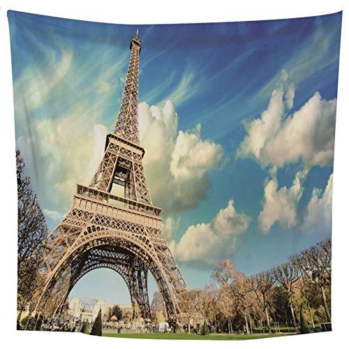 ANAZOZ Tapisserie Wandteppiche Eiffelturm Tapestry Wandtuch Wandbehang Polyester Wall Hanging Wandtücher Weiß Blau Wohnheim Dekor 150X150Cm