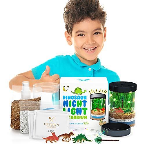 Dinosaur Terrarium Kit for Kids - Great 6 Year Old Boy Gifts - Science Toys for Kids 5-7 - Kids Terrarium Kit w Dinosaur Lights - Perfect Science Growing Kit for Kids | Gifts for 7 Year Old Boys