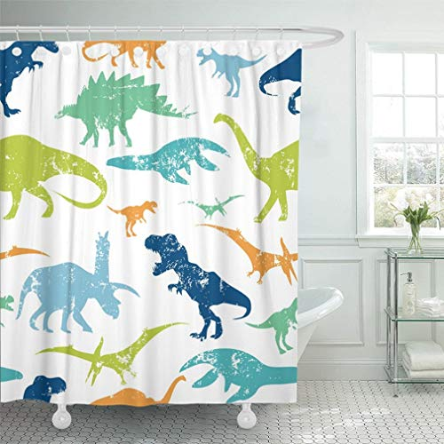 Emvency 72'x78' Shower Curtain Waterproof Green Dino Pattern...