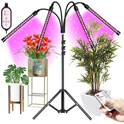 WRQ LED Plant Grow Light Full Spectrum Sunlight, 4 Head Plant Light with Auto Timer 10-Level Brightness,Growing Lamp for Indoor Plants,Plant Lamps for Grow Tent Blooming Fruiting
