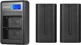 F550 Battery & Charger Kit 2pcs 7.4V 2200mAh NP-F550 Battery + 1pc LCD2-NPF550 Dual Channel Camera Battery Charger USB Por...