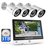 5MP PoE Security Camera System, Built-in 12' Screen 8CH NVR with 3TB HDD,4Pcs Waterproof PoE Camera for Indoor-Outdoor Security,1-Way Audio 60-Day Video Record, Human & Face Detect