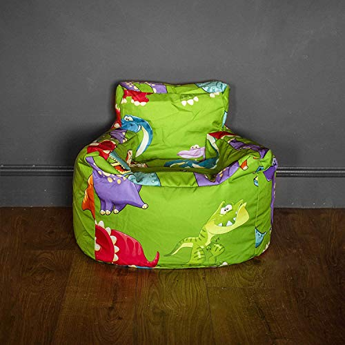 HomeZone Green Kids Bean Bag Chairs | Green with Dinosaurs | Playroom Soft Sitting Cushion (COVER ONLY)