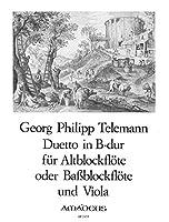 """TELEMANN - Duo en Sib Mayor """"Der Getreue Musikmeister"""" para Flauta de Pico Alto o Bajo y Viola(Michel)"""