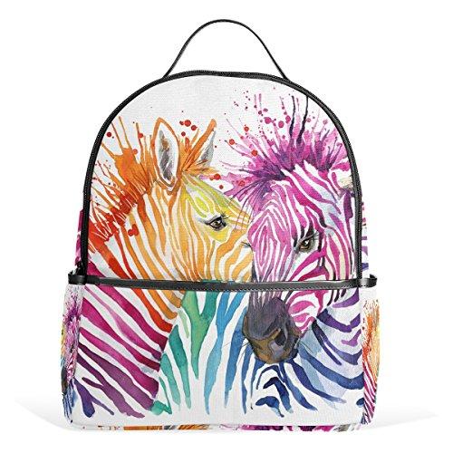 COOSUN Regenboog Zebra School Rugzakken Boekentassen voor Jongens Meisjes Kids