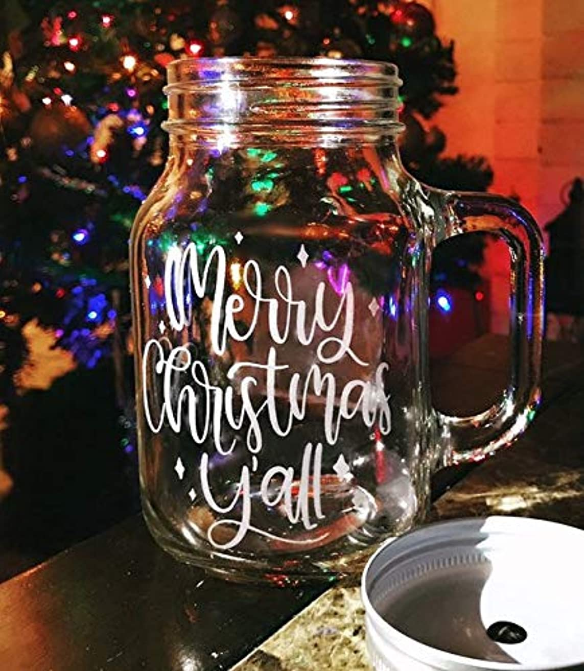 Merry Christmas Y'all - Country Western Christmas Mason Jar Mug with Lid and Hole for Straw, Farmhouse Christmas, Country Christmas Gift