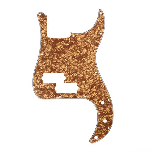 Musiclily P Bass pickguard for Precision Bass Guitar, 4Ply Pearl Bronze