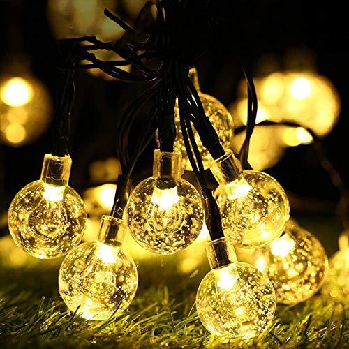 Luci a stringa solare, luci a stringa con EC Technology, luci da patio a LED da 33 piedi e 50 con 8 modalità,solare con sfera di cristallo impermeabile per patio,festa,decorazioni natalizie