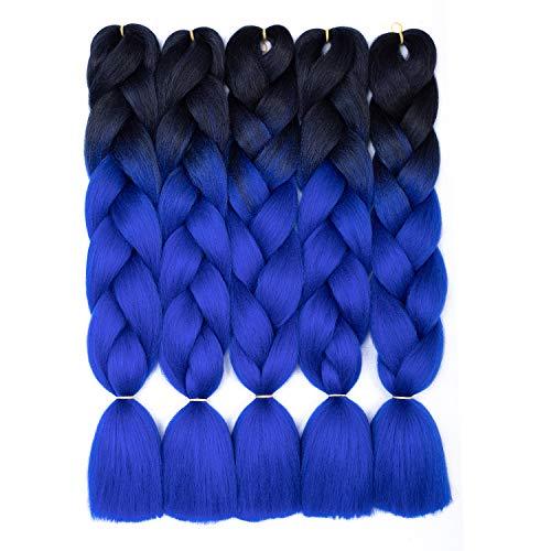 24-Zoll-Ombre-Jumbo-Flechthaar Schwarzblau Ombre-Flechthaarverlängerungen 5-teiliges Jumbo-Geflecht Kanekalon-Kunsthaar zum Flechten (5-teilig, schwarz-blau)
