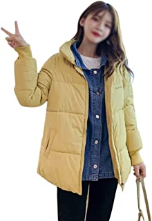 LUKEEXIN Womens Casual Denim Stitching Two Short Down Jacket Stand Up Collar