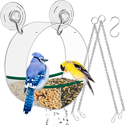 Birdious Hanging Window Bird Feeder with Suction Cups and Chains: Removable, Round Birdfeeder for Watching Wild Birds. Bird Lover Gift Idea