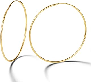 14K Yellow Gold Plated 925 Sterling Silver Dainty Thin huggie Piercing Big Extra Large Endless Hoop Earrings Everyday Fine Jewelry Gifts for Women Girls,Size 40 50 60 70mm