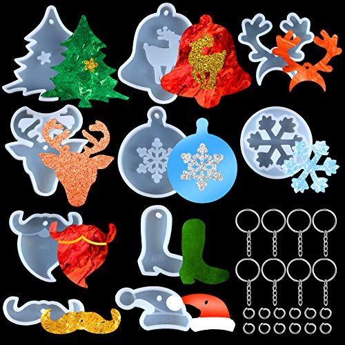 10 Pieces Christmas Resin Molds Snowflake Mold Keychain Molds Christmas Bell Silicone Resin Molds Reindeer Molds for DIY Crafts Decorations Jewelry Making