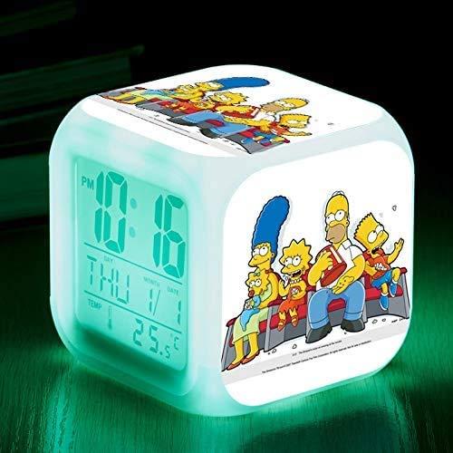 N/J regalo de cumpleaños Los Simpsons Coloridos de Color Ing-cambio de Reloj de Alarma Led Quad Bell de los Niños Regalo Creativo Pequeño Reloj de Despertador 17,31 Adecuado para los niños
