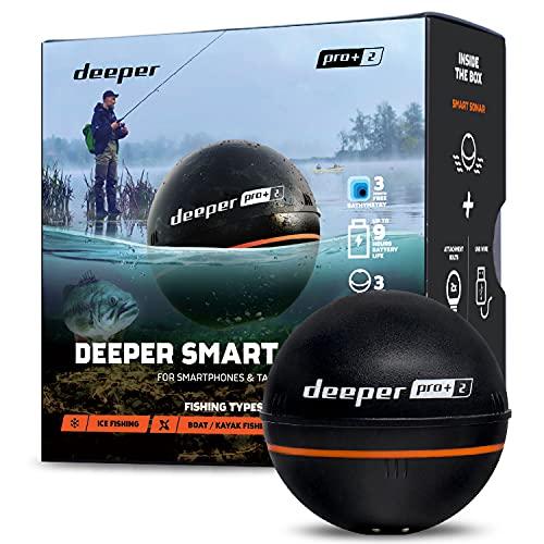 Deeper Pro Plus 2 Auswerfbarer und portabler Fischfinder mit GPS-Funktion für Kajaks und Boote zum Ufer- und Eisangeln Drahtloses Fischfinder Smart-Sonar Angelradar, Tiefenmessgerät
