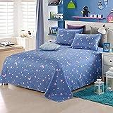 Sccarlettly Worth Having Blue Star Pattern Bettwäsche Casual Chic Einzelstück Cotton Twill Student Dormitory 1.5M Einzelbettdecken Kinder 1.8M 2.0M Doppelbett Bettwäsche (Größe 250 * 230Cm)