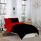 Dorm Room Twin XL Reversible Red and Black Duvet Bedding Set - Soft & Comfy 100% Cotton- By Crescent Bedding (Twin XL Red and Black)