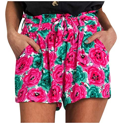 Best Prices! Elastic Sport Shorts - Drawstring Floral Shorts Loose Beach Shorts with Pockets Red