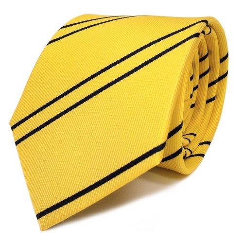 TigerTie Designer Krawatte in gelb goldgelb dunkelblau gestreift