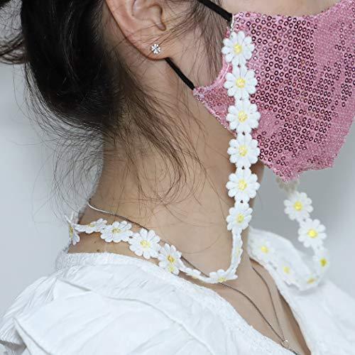 Yienate Cordón multifuncional para máscara de moda, cadena de margaritas pequeñas, desmontable, collar, cordón, gafas, cadena, máscara facial, accesorios para mujeres y niñas (amarillo)