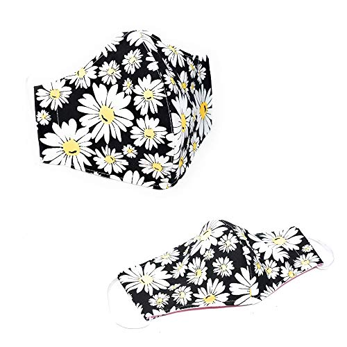 100% Premium Cotton Cloth Face Covering for Women Men-Durable- Breathable-3 Layers Fabric-Reusable-Washable - Outdoor - MADE IN USA - 1 piece (White Daisies on Black)
