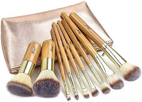Matto Make-up Brushes 9-Piece Bamboo Makeup Brush Set with Make Up Brushes Travel Cosmetics Bag