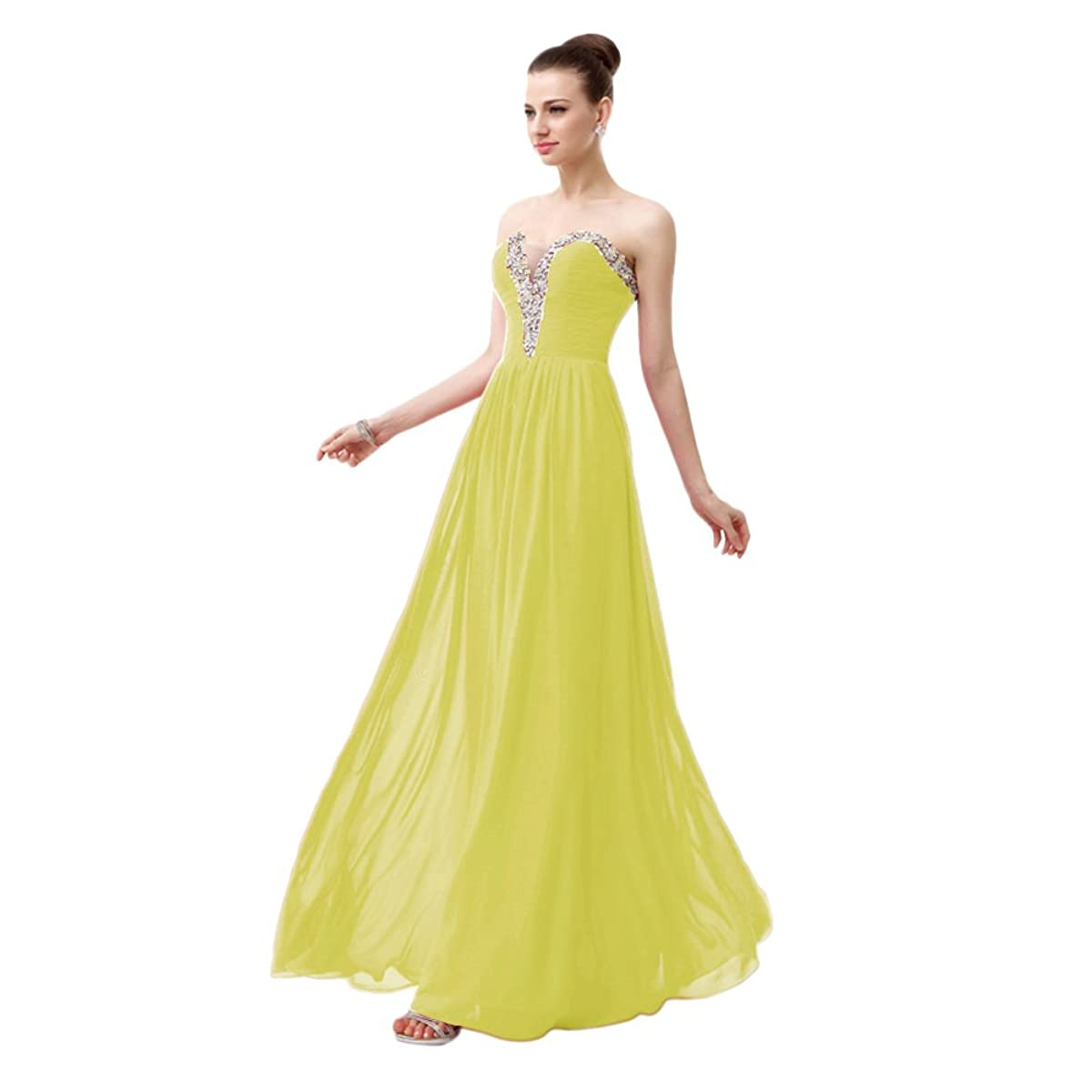 vimans Sexy Sweetheart Chiffon Dresses for Women Long Beaded Prom Gowns