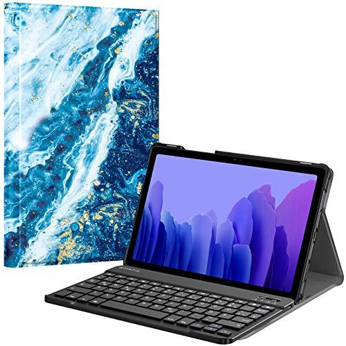 Fintie Tastatur Hülle für Samsung Galaxy Tab A7 10.4'' 2020 (SM-T500/T505/T507), Ultradünn leicht Schutzhülle mit magnetisch Abnehmbarer drahtloser Deutscher QWERTZ Bluetooth Tastatur, Meeresblau
