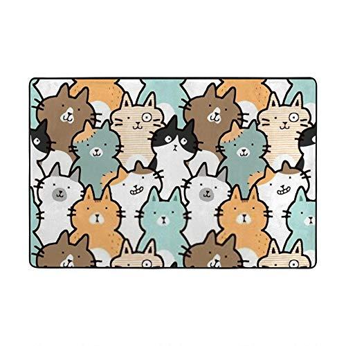 HAOXIANG Alfombra de terciopelo coral con diseño de gato de dibujos animados para sala de estar, suave decoración del hogar