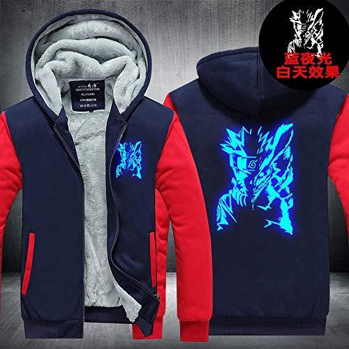 Pull à Capuche Naruto Zip Hommes Glowing Imprimé à Capuche Chaud Manteau Sport à Manches Longues Brochage Veste O-M