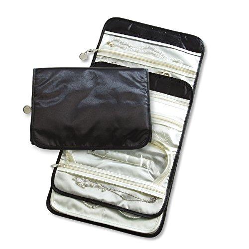 "Personalized Initial Premium Nylon Jewelry Organizer - 1 1/2"" x 8"" x 10"" travel jewelry case, Choose an Initial to add to zipper pull on jewelry bag."