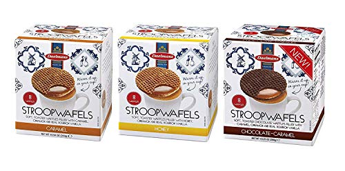 DAELMANS Stroopwafels, Dutch Waffles Soft Toasted, 3 Pack Assortment, Caramel, Honey, Chocolate, Office Snack, Jumbo Size, Kosher Dairy, Authentic Made In Holland, 8 Stroopwafels Per Box (3 Pack)