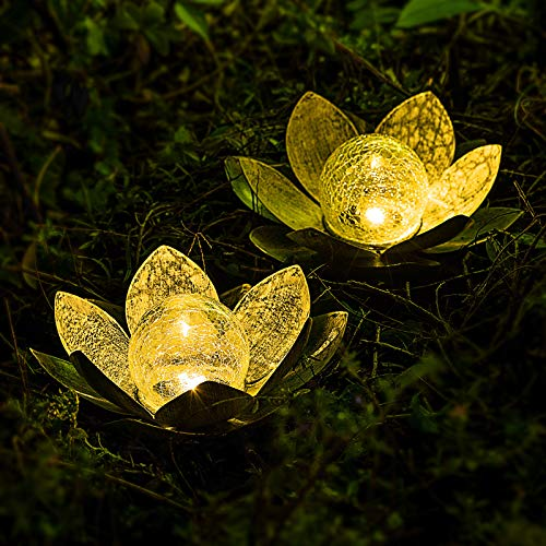 AIINY Garden Solar Light Outdoor , Amber Crackle Globe Glass Lotus Decoration , Waterproof Metal LED Flower Lights for Patio,Lawn,Walkway,Tabletop,Ground 2Pack