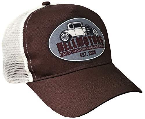 HELLMOTORS Trucker Cap Hotrod Shop Oldschool V8 Kappe Unisex Grey Patch