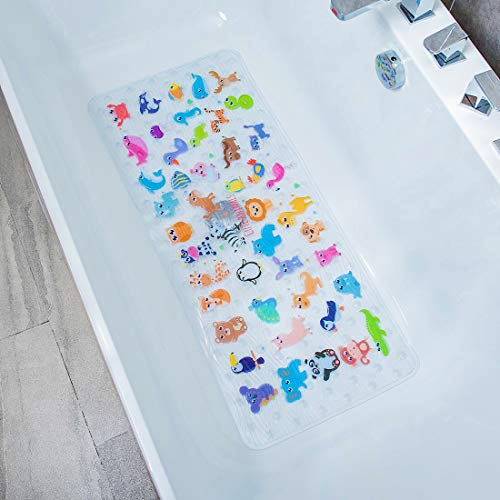 BEEHOMEE Bath Mats for Tub Kids - Large Cartoon Non-Slip Bathroom Bathtub Kid Mat for Baby Toddler Anti-Slip Shower Mats for Floor 35x16,Machine Washable XL Size Bathroom Mats (Zoo)