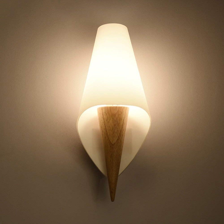 Wandleuchte,Neues, modernes, minimalistisches led Wandleuchte aus Holz Schlafzimmer Nachttischlampe kreatives Studium Wohnzimmer balkon Treppe leuchten (Stil  A)