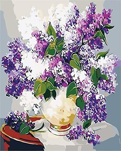 Digitale bloem, voor knutselen, olieverfschilderij, digitaal, knutselen, canvas, schilderij op houten plank, schilderij op digitaal schilderwerk - 40 x 50 cm, Framed