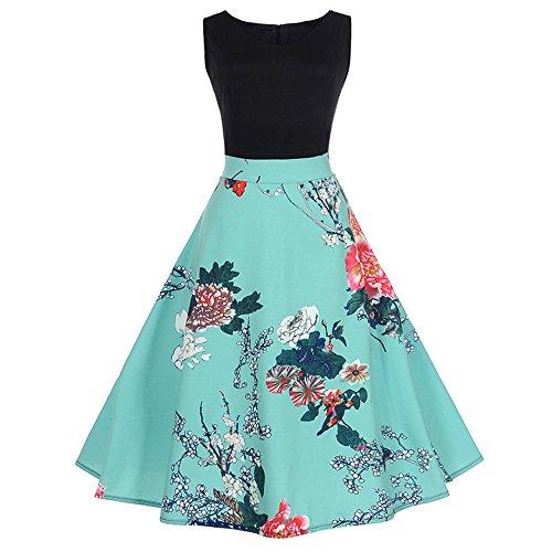 VEMOW Heißer Elegante Damen Mädchen Frauen Vintage Bodycon Sleeveless Beiläufige Abendgesellschaft Tanz Prom Swing Plissee Retro Kleider(X3-Blau, 42 DE/XXL CN)