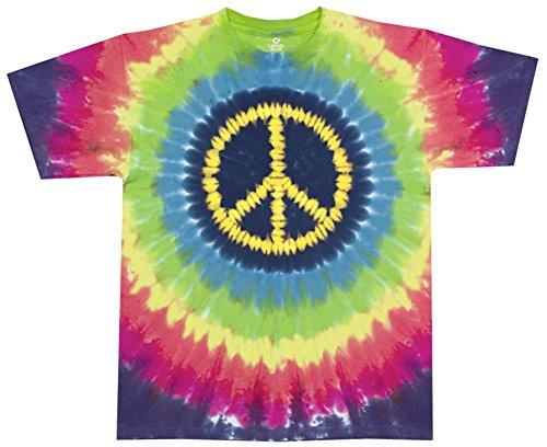 Liquid Blue Men's Hippie Peace T-Shirt, Tie Dye, X-Large
