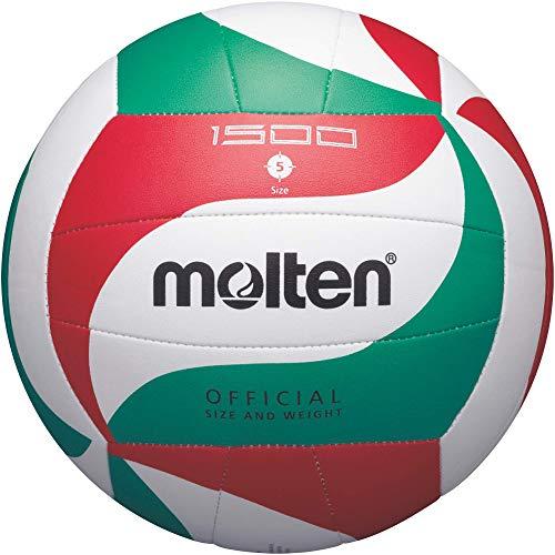Molten V5M1500, Pallone Da Pallavolo Unisex Adulto, Bianco/Rosso/Verde/Nero, 5